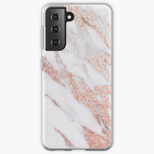 Blush pink rose gold marble Samsung Galaxy Soft Case
