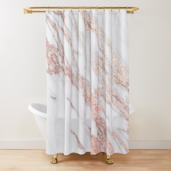 Blush pink rose gold marble Shower Curtain