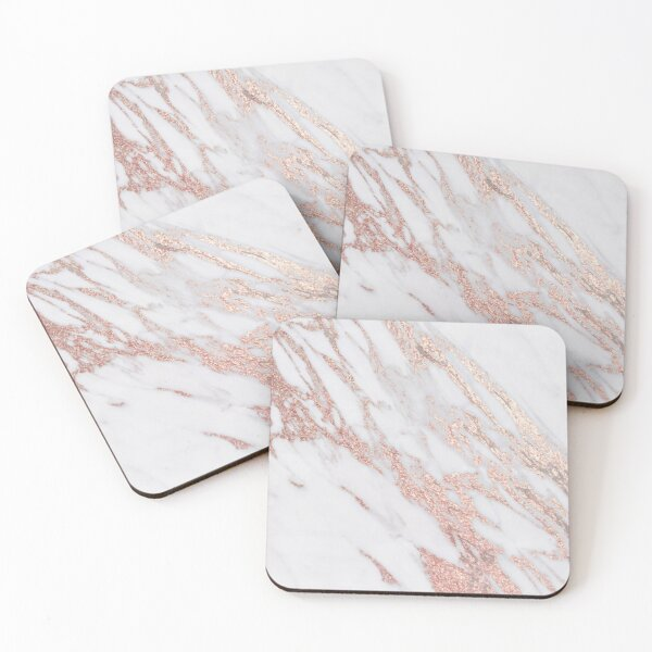 Blush pink rose gold marble Coasters (Set of 4)