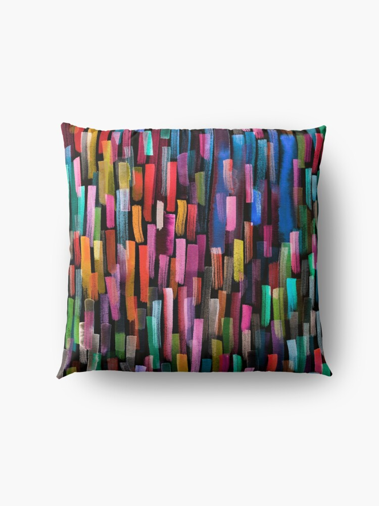 Alternate view of Multicolored watercolor stripes pattern Floor Pillow