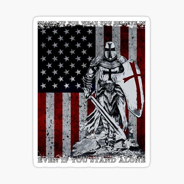 Crusader - Knight Templar American Flag Sticker