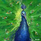 Grungy Semi Abstract Peacock Painting  by ibadishi