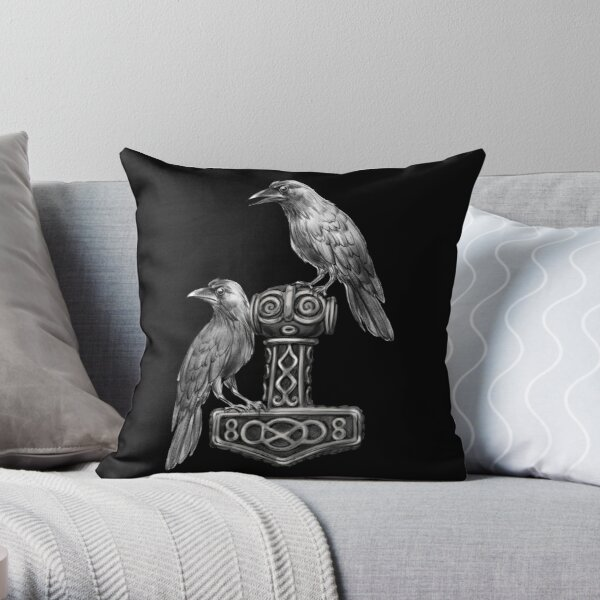 Thor Hammer Mjölnir with Odin Ravens Hugin and Munin Throw Pillow