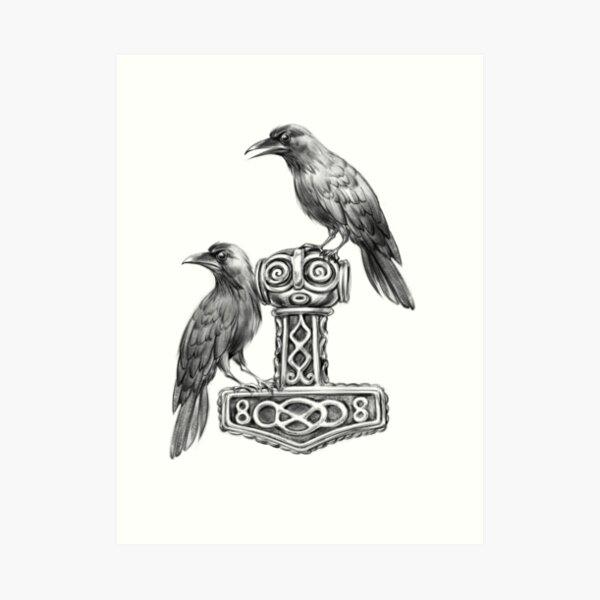 Thor Hammer Mjölnir with Odin Ravens Hugin and Munin Art Print