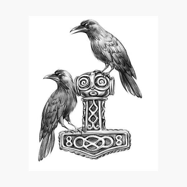 Thor Hammer Mjölnir with Odin Ravens Hugin and Munin Photographic Print