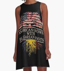 Amerikaner gewachsen mit bulgarischem Wurzel-T-Shirt A-Linien Kleid