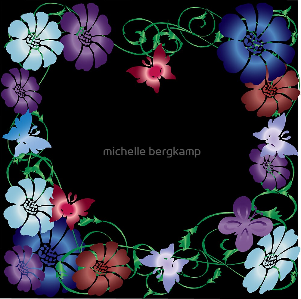 butterflies and flowers on black by michelle bergkamp