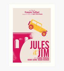 Jules et Jim, minimalist movie poster for  François Truffaut film with Jeanne Moreau (french new wave cinema) Art Print