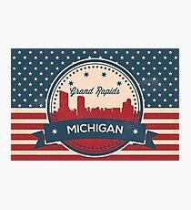 Retro Grand Rapids Michigan Skyline Photographic Print