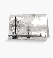 196 - TALL SHIPS LEAVING THE TYNE - DAVE EDWARDS - PEN & INK - 1993 Greeting Card