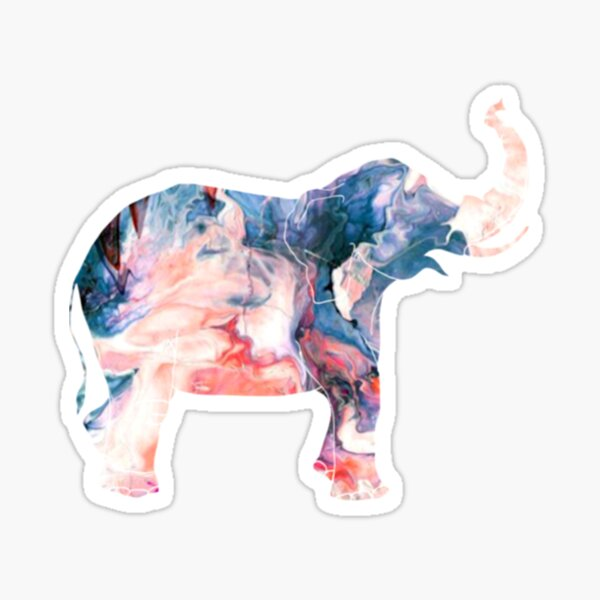 Watercolor Elephant Swirl Sticker