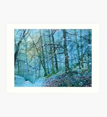 Blizzard in Broxa Forest Art Print