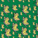 Yellow Butterfly pattern on green background by HEVIFineart