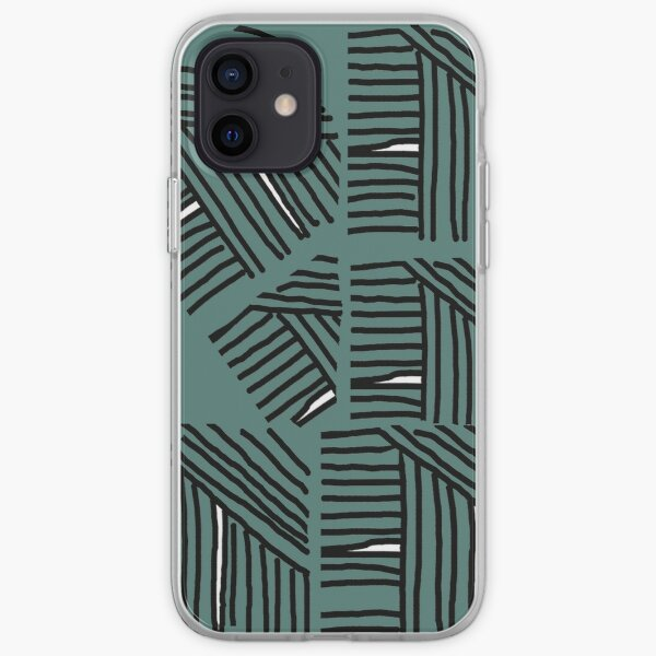 Line pattern black and green iPhone Soft Case