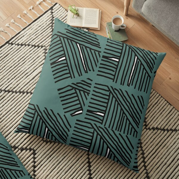 Line pattern black and green Floor Pillow