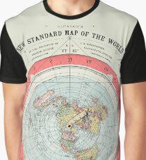 Flat Earth Society World Map Graphic T-Shirt