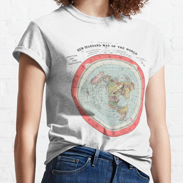 Flat Earth Society World Map Classic T-Shirt