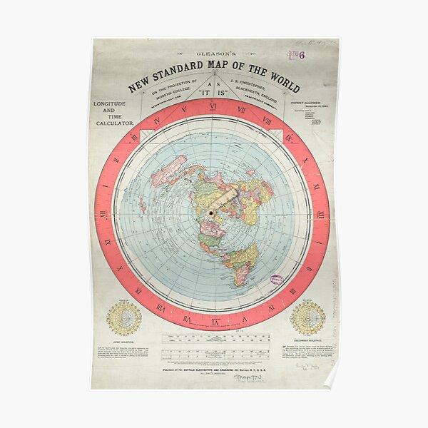 Flat Earth Society World Map Poster