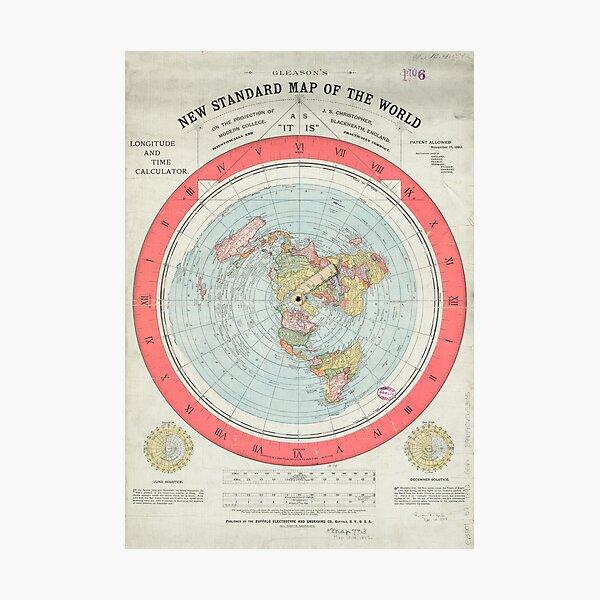 Flat Earth Society World Map Photographic Print