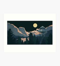 Moonlit Watchtower Art Print