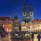 Prague Old Town Square Night Light by Yuriy Shevchuk