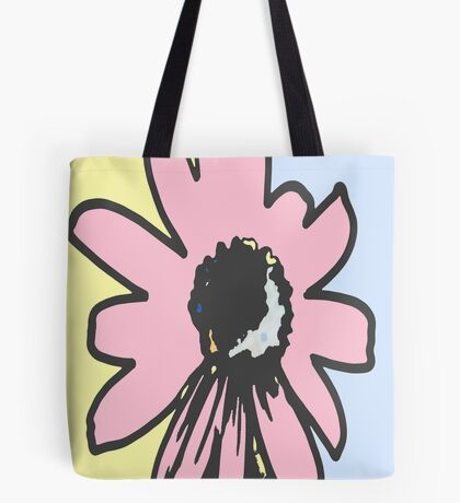 Retro daisy yellow pink blue floral pattern Tote Bag
