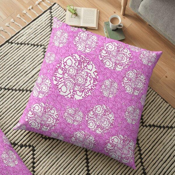 Cool cute swirls dots vibrant pink white pattern    Floor Pillow