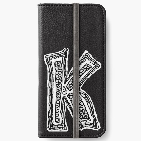 Upper case black and white alphabet Letter K iPhone Wallet