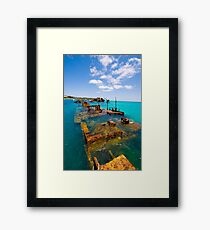 Ships in the water. Framed Print