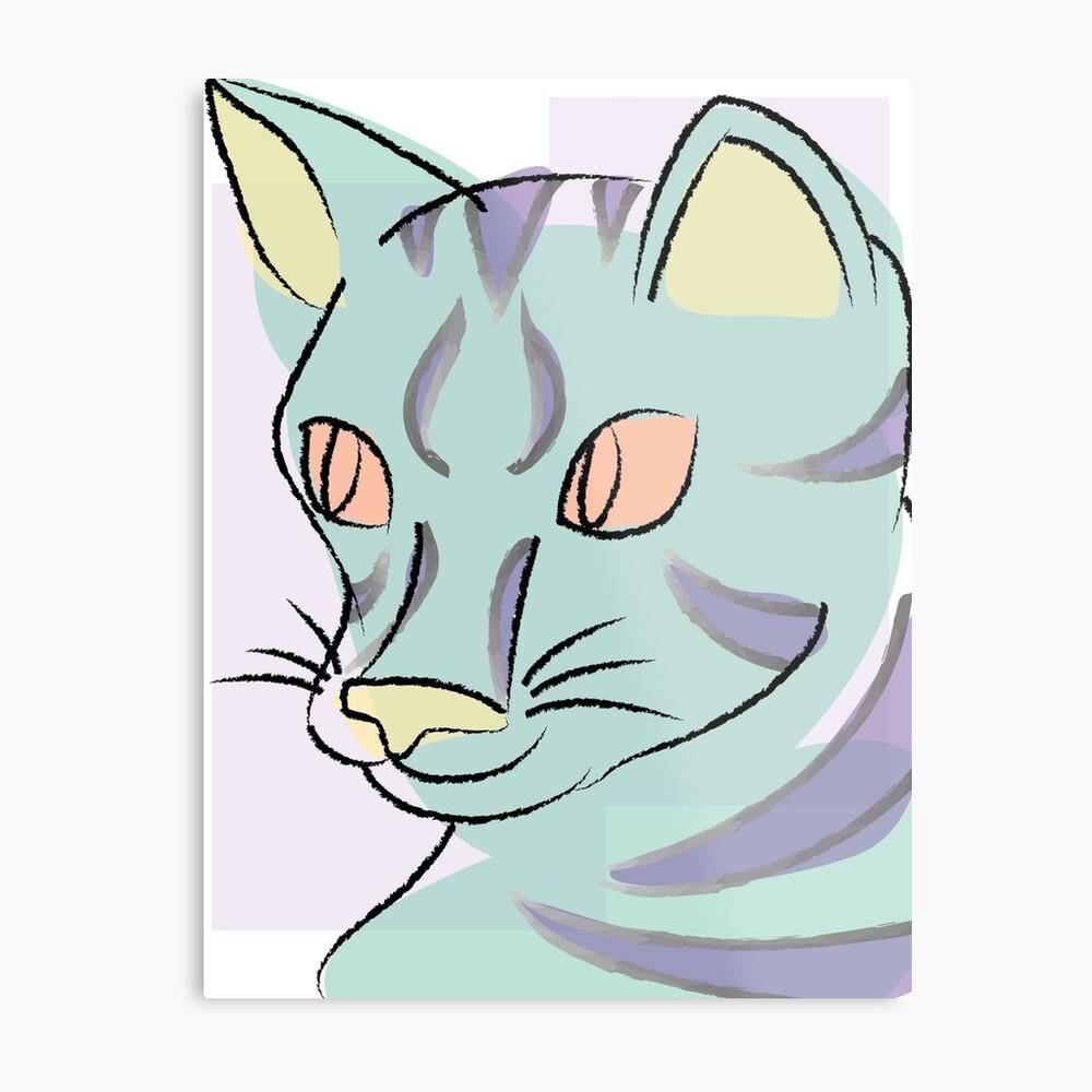 Pastell Katze Metallbild
