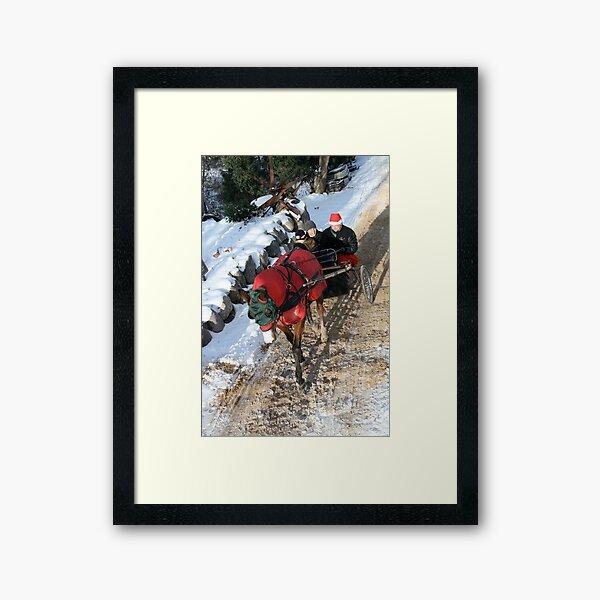 """In a One Horse Open Sleigh"" Framed Art Print"
