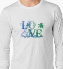 LOVE in green and blue T-Shirt