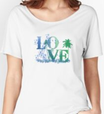 LOVE in green and blue Women's Relaxed Fit T-Shirt