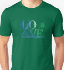 LOVE in green and blue Unisex T-Shirt