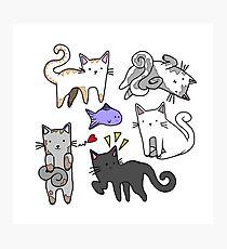 Cute kawaii japanese cartoon cats  Photographic Print