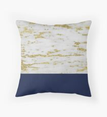 Faraldi gold marble and French navy Throw Pillow