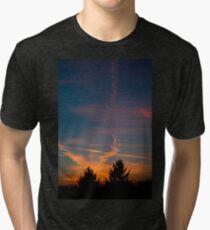 Evening aeroplane contrails sunset Tri-blend T-Shirt