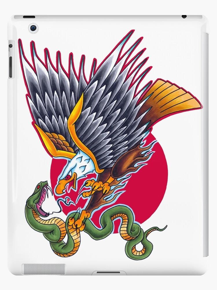 Traditioneller Tätowierungs Adler Schlange Und Aufgehende Sonne Grellen Entwurf Ipad Hülle Klebefolie Von Jimtattooer