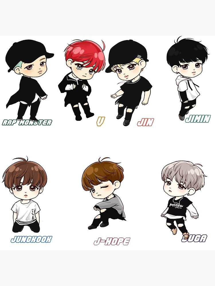 Bts Chibi Art Board Print By Ashleyarroyo Redbubble