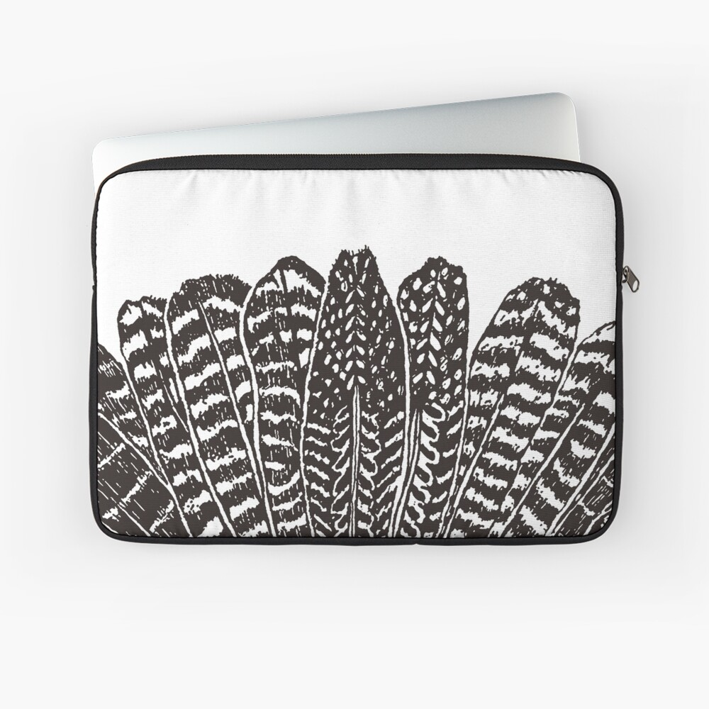 Tribal Feathers Black Laptop Sleeve