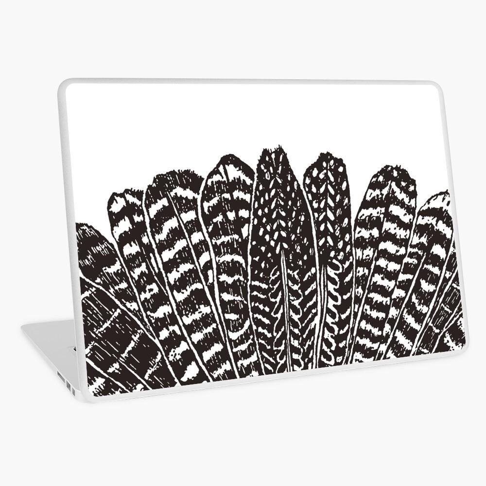 Tribal Feathers Black Laptop Skin