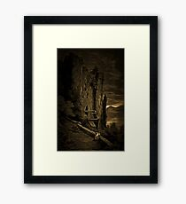 A Dark and Scary view of a Run-Down Castle in France 19th century Framed Print