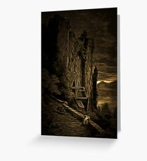 A Dark and Scary view of a Run-Down Castle in France 19th century Greeting Card