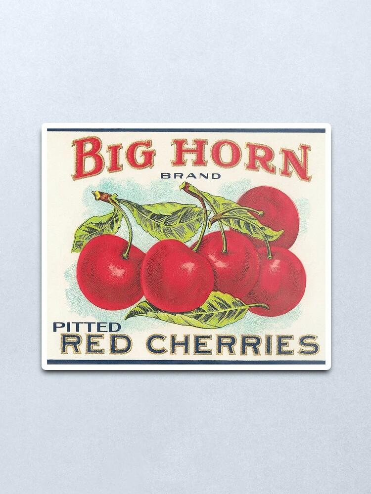 Alternate view of Vintage Fruit Canning Label - Cherries Metal Print
