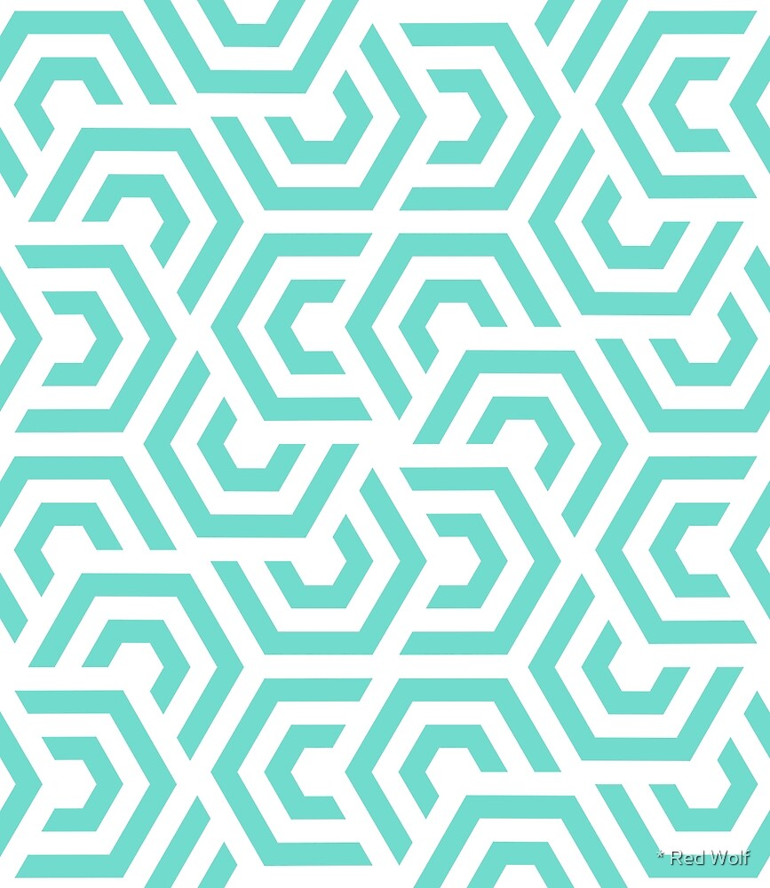 Geometric Pattern: Layered Hexagon: Blue by * Red Wolf