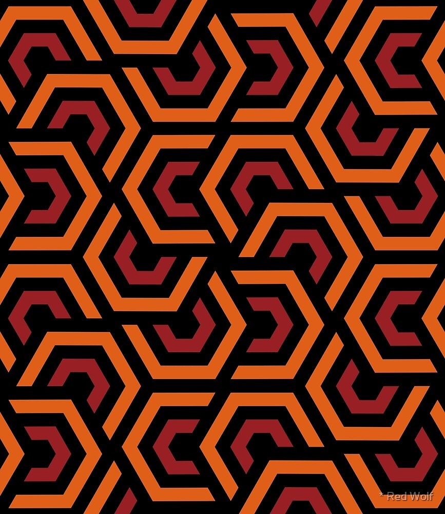 Geometric Pattern: Layered Hexagon: Orange by * Red Wolf