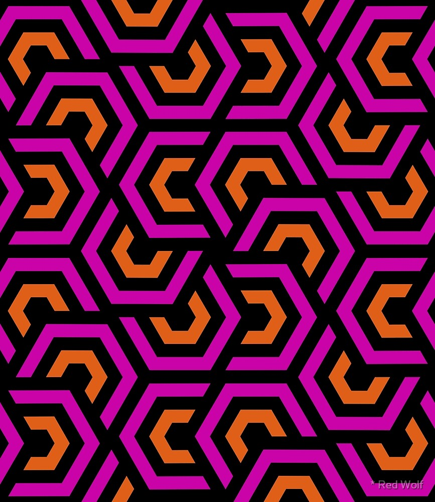 Geometric Pattern: Layered Hexagon: Pink by * Red Wolf