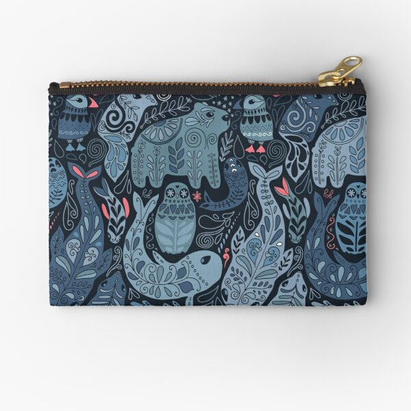 Arctic animals. Narwhal, polar bear, whale, puffin, owl, fox, bunny, seal. Zipper Pouch