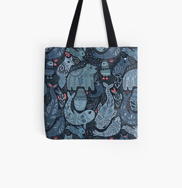 Arctic animals. Narwhal, polar bear, whale, puffin, owl, fox, bunny, seal. All Over Print Tote Bag