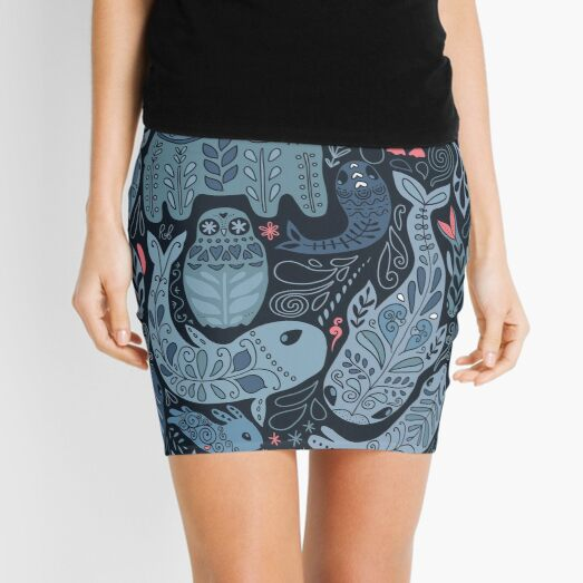 Arctic animals. Narwhal, polar bear, whale, puffin, owl, fox, bunny, seal. Mini Skirt